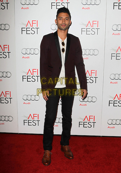 Justin Tipping.AFI FEST 2012 'On The Road' gala screening, Grauman's Chinese Theatre, Hollywood, California, USA..3rd November 2012.full length maroon suit jacket black jeans denim white top.CAP/ADM/KB.©Kevan Brooks/AdMedia/Capital Pictures.