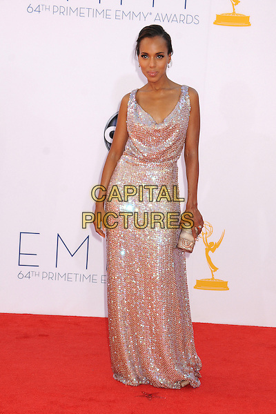 Kerry Washington.The 64th Anual Primetime Emmy Awards - Arrivals, held at Nokia Theatre L.A. Live in Los Angeles, California, USA..September 23rd, 2012.emmys full length dress silver sequins sequined clutch bag   .CAP/ADM/BP.©Byron Purvis/AdMedia/Capital Pictures.