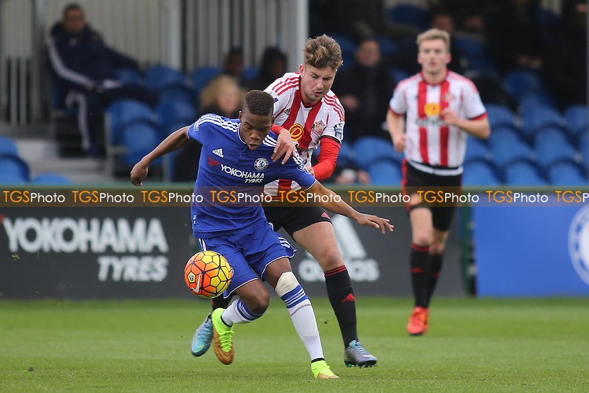 Charly Musonda of Chelsea shields the ball from Sunderland's Ethan Robson during Chelsea U21 vs Sunderland AFC U21 at the Cobham Training Ground