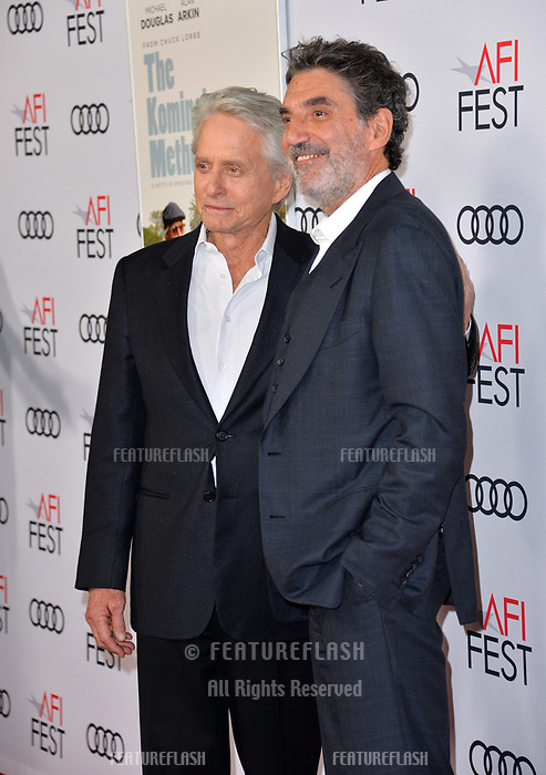 LOS ANGELES, CA. November 10, 2018: Michael Douglas &amp; Chuck Lorre at the AFI Fest 2018 world premiere of &quot;The Kominsky Method&quot; at the TCL Chinese Theatre.<br /> Picture: Paul Smith/Featureflash