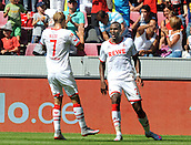 01.08.2015. RheinEnergieStadion, Cologne, Germany. Colonia Cup  FC Cologne versus Stoke City. Scorer Anthony Modeste with Marcel Risse (Col)
