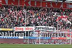Gegen DFB Plakate beim Spiel in der 3. Liga, Hallescher FC - FC Ingolstadt 04.<br /> <br /> Foto © PIX-Sportfotos *** Foto ist honorarpflichtig! *** Auf Anfrage in hoeherer Qualitaet/Aufloesung. Belegexemplar erbeten. Veroeffentlichung ausschliesslich fuer journalistisch-publizistische Zwecke. For editorial use only. DFL regulations prohibit any use of photographs as image sequences and/or quasi-video.