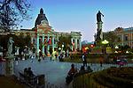 Plaza Pedro Murillo is the historical center of La Paz, Bolivia.  A statue of the Bolivian patriot Pedro Murillo, who the plaza is named after, stands in the center of the plaza and the orange classical Placio Legislativo or Legislative Palace faces the plaza.