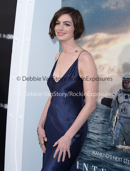 Anne Hathaway attends The Los Angeles premiere of INTERSTELLAR, from Paramount Pictures and Warner Brothers Pictures held at The TCL Chinese Theatre in Hollywood, California on October 26,2014                                                                               © 2014 Hollywood Press Agency