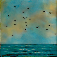 Mixed media encaustic painting of birds over the ocean in brilliant turquoise sky