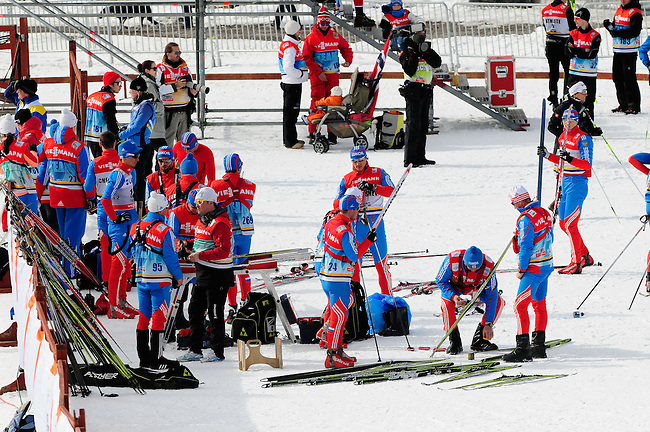 FALUN, SWEDEN - March 24: Russian team before the Viessmann Men Handicap 15 km F at the FIS Cross country World Cup Final on March 24, 2013 in Falun, Sweden. (Photo by Dirk Markgraf)