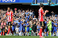 John Terry acknowledges the crowd and gets ready to walk down the guard of honour formed by his teammates after being substituted in the 26th minute during Chelsea vs Sunderland AFC, Premier League Football at Stamford Bridge on 21st May 2017