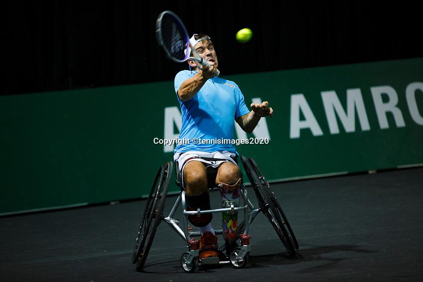 Rotterdam, The Netherlands, 11 Februari 2020, ABNAMRO World Tennis Tournament, Ahoy, <br /> Wheelchair tennis: Martin De La Puente (ESP).<br /> Photo: www.tennisimages.com
