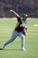 Danny Farquhar #63 of the Oakland Athletics participates in spring training workouts at the Athletics complex on February 16, 2011  in Phoenix, Arizona. .Photo by:  Bill Mitchell/Four Seam Images.