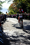 Annemiek van Vleuten of the Netherlands solos into Harrogate over 2' ahead during the Women Elite Road Race of the UCI World Championships 2019 running 149.4km from Bradford to Harrogate, England. 28th September 2019.<br /> Picture: Andy Brady | Cyclefile<br /> <br /> All photos usage must carry mandatory copyright credit (© Cyclefile | Andy Brady)
