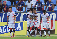 SANTA MARTA - COLOMBIA, 31-08-2019: Ever Valencia del Cúcuta celebra después de anotar el segundo gol de su equipo durante el partido por la fecha 9 de la Liga Águila II 2019 entre Unión Magdalena y Cúcuta Deportivo jugado en el estadio Sierra Nevada de la ciudad de Santa Marta / Ever Valencia of Cucuta celebrates after scoring the second goal of his team during match for the date 9 as part Aguila League II 2019 between Union Magdalena and Cucuta Deportivo played at Sierra Nevada stadium in Santa Marta city. Photo: VizzorImage / Gustavo Pacheco / Cont