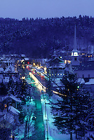AJ5870, Stowe, aerial, ski resort, evening, village, holiday, snow, winter, Vermont, A scenic aerial view of the village of Stowe on a wintry night in Lamoille County in the state of Vermont.