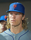 New York Mets starting pitcher Noah Syndergaard (34) after being taken out of the game in the sixth inning against the Baltimore Orioles at Oriole Park at Camden Yards in Baltimore, Maryland on Wednesday, August 19, 2015.  The Orioles won the game 5 - 4.<br /> Credit: Ron Sachs / CNP<br /> (RESTRICTION: NO New York or New Jersey Newspapers or newspapers within a 75 mile radius of New York City)