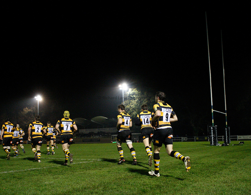 Photo: Richard Lane/Richard Lane Photography. Wasps A v Saracens Stormers. Aviva A League. 28/11/2011. Wasps team run out.
