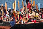 Canoe Journey, Paddle to Nisqually, 2016,  Haida canoes, Haida tribe,arriving in Olympia, Washington, 7-30-2016, Salish Sea, Puget Sound, Washington State, USA,