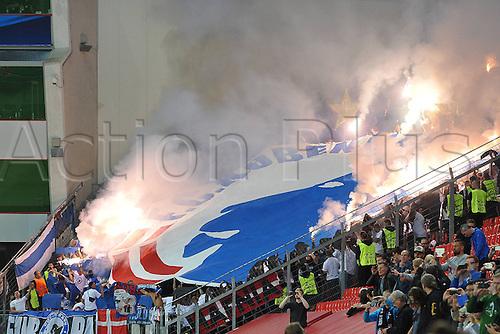 27.08.2014. Leverkusen, Germany. UEFA Champions League qualification match. Bayer Leverkusen versus FC Copenhagen. Copenhagen fans light up the sky