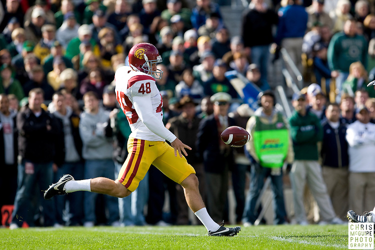 10/17/09 - South Bend, IN:  USC kicker Jacob Harfman punts during the first quarter at Notre Dame Stadium on Saturday.  USC won the game 34-27 to extend its win streak over Notre Dame to 8 games.  Photo by Christopher McGuire.