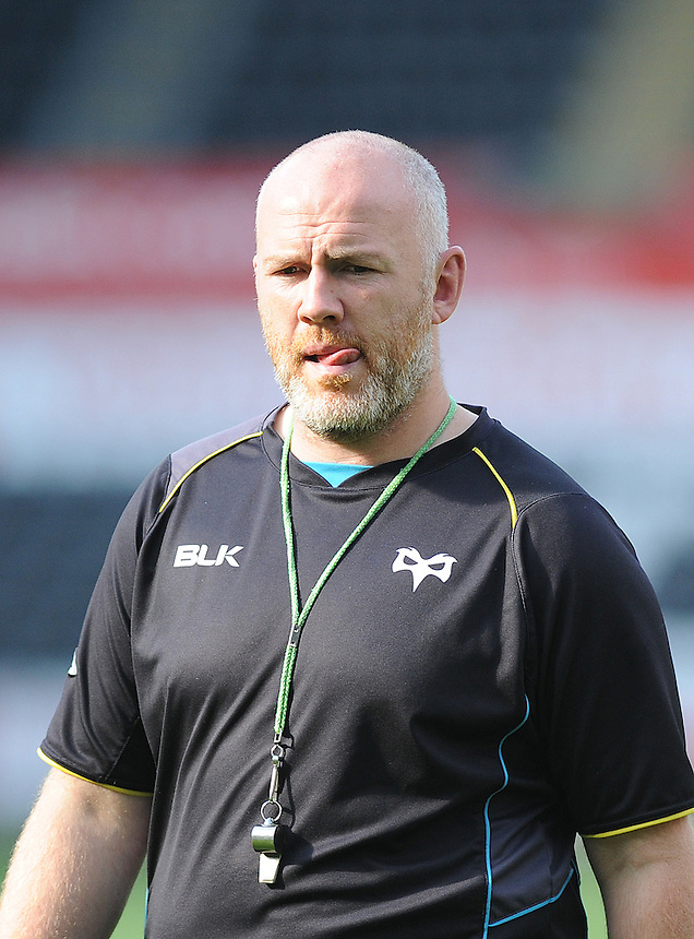 Ospreys Coach Steve Tandy during the pre match warm up <br /> <br /> Photographer Ashley Crowden/CameraSport<br /> <br /> Rugby Union - Guinness PRO12 - Ospreys v Edinburgh Rugby - Sunday 21st September 2014 - The Liberty Stadium - Swansea<br /> <br /> &copy; CameraSport - 43 Linden Ave. Countesthorpe. Leicester. England. LE8 5PG - Tel: +44 (0) 116 277 4147 - admin@camerasport.com - www.camerasport.com