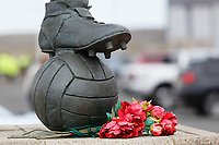 Flowers by the boots of the statue of George Hardwick, outside of the he stadium prior to the Sky Bet Championship match between Middlesbrough and Swansea City at the Riverside Stadium, Middlesbrough, England, UK. Saturday 22 September 2018
