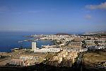 View of Los Cristianos, town,harbour, beach looking towards Playa de las Americas. Los Cristianos,Tenerife, Canary Islands, Spain.