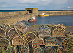 Small picturesque harbour at Craster, Northumberland, England
