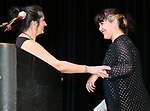 Western Nevada College Adult Literacy & Language program coordinator Angela Holt congratulates scholarship winner Willow Bartels during a ceremony as more than 100 students received their High School Equivalency during a Western Nevada College ceremony in Carson City, Nev., on Monday, June 19, 2017. <br /> Photo by Cathleen Allison/Nevada Photo Source