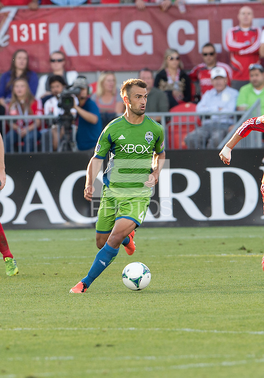 August 10, 2013: Seattle Sounders FC defender Patrick Ianni #4 in action during an MLS regular season game between the Seattle Sounders and Toronto FC at BMO Field in Toronto, Ontario Canada.<br /> Seattle Sounders FC won 2-1.