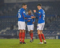 Leon Maloney of Portsmouth right is congratulated by Gareth Evans of Portsmouth on scoring to make the score 1-1  during Portsmouth vs Northampton Town, Leasing.com Trophy Football at Fratton Park on 3rd December 2019
