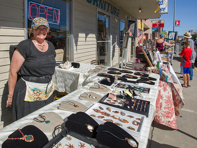 Artist Denise Sizemore at the Midtown Art Walk on Thursday afternoon in Reno, June 28, 2018.