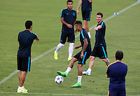 Calcio Champions League - Allenamento del Barcellona alla vigilia del match contro la Roma allo stadio Olimpico di Roma, 15 settembre 2015.<br /> Italy Football Champions League: From left, Barcelona's Luis Suarez, Neymar and Lionel Messi attend a training session ahead of the football match against Roma at Rome's Olympic stadium, 15 September 2015.<br /> UPDATE IMAGES PRESS/Riccardo De Luca