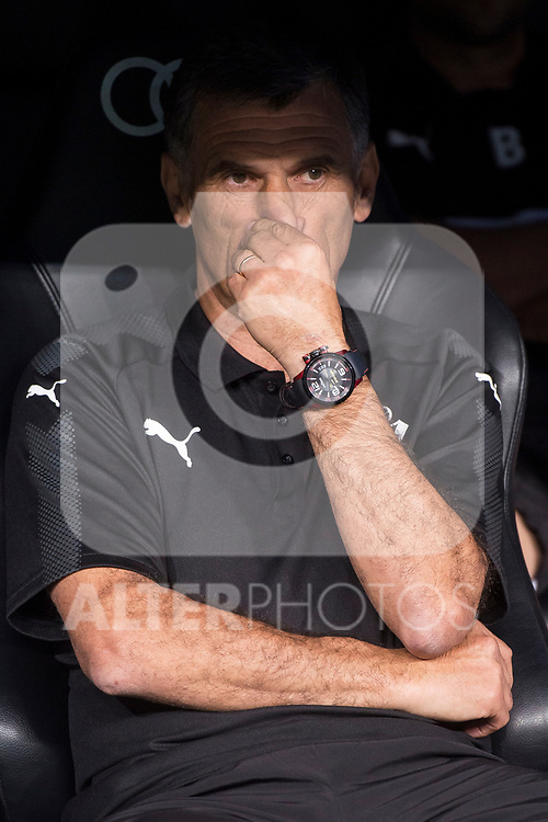 Eibar coach Jose Luis Mendilibar during La Liga match between Real Madrid and Eibar at Santiago Bernabeu Stadium in Madrid, Spain. October 22, 2017. (ALTERPHOTOS/Borja B.Hojas)