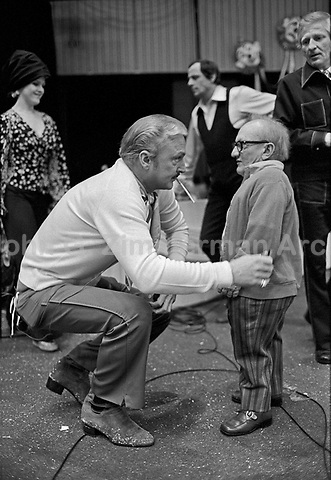 Actor Jack Cassidy with Actor Billy Barty backstage at the Circus of the Stars (CBS Special), November 23, 1976.. Photo by John G. Zimmerman.