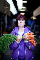 26/8/2011. Dublin Fruit and Vegetable Market.  Moore st Trader Marian O Brien is pictured at the Dublin Fruit and Vegetable Market. Picture James Horan/Collins Photos