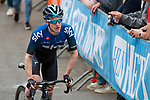 Team Sky rider crosses thefinish line at the end of the 2019 La Fl&egrave;che Wallonne, running 195 km racing from Ans to Mur de Huy, Belgium. 24th April 2019. Picture: Pim Nijland | Peloton Photos/Cyclefile<br /> <br /> All photos usage must carry mandatory copyright credit (Peloton Photos/Cyclefile | Pim Nijland)
