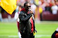 Landover, MD - November 18, 2018: DC native Johnny Gill sings the National anthem before game between the Houston Texans and the Washington Redskins at FedEx Field in Landover, MD. (Photo by Phillip Peters/Media Images International)