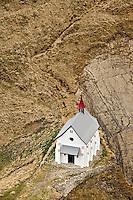 Small church viewed from atop Pilatus Mountain, near Lucerne, Switzerland