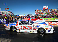 Sept. 21, 2013; Ennis, TX, USA: NHRA pro stock driver Larry Morgan during the Fall Nationals at the Texas Motorplex. Mandatory Credit: Mark J. Rebilas-