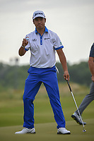 Hideki Matsuyama (JPN) after sinking his putt on 1 during round 4 of the AT&T Byron Nelson, Trinity Forest Golf Club, at Dallas, Texas, USA. 5/20/2018.<br /> Picture: Golffile | Ken Murray<br /> <br /> All photo usage must carry mandatory copyright credit (© Golffile | Ken Murray)