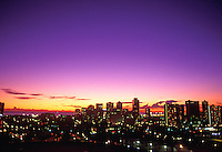 Honolulu cityscape at sunset, taken from Punchbowl facing towards the ocean