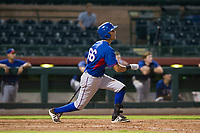 AZL Rangers right fielder Obie Ricumstrict (66) starts down the first base line against the AZL Giants on September 4, 2017 at Scottsdale Stadium in Scottsdale, Arizona. AZL Giants defeated the AZL Rangers 6-5 to advance to the Arizona League Championship Series. (Zachary Lucy/Four Seam Images)