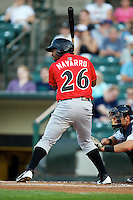 Indianapolis Indians third baseman Yamaico Navarro #26 at bat during a game against the Empire State Yankees at Frontier Field on August 4, 2012 in Rochester, New York.  Empire State defeated Indianapolis 9-8 in ten innings.  (Mike Janes/Four Seam Images)