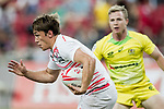 Will Glover of England runs with the ball during the match Australia vs England, the Bronze Final of Day 2 of the HSBC Singapore Rugby Sevens as part of the World Rugby HSBC World Rugby Sevens Series 2016-17 at the National Stadium on 16 April 2017 in Singapore. Photo by Victor Fraile / Power Sport Images