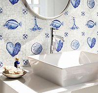 Delft, a hand-cut cut jewel glass mosaic, shown in  Opal Sea Glass™ with jewel glass Lapis Lazuli, Iolite, and Covelite, is part of the Sea Glass™ Collection by New Ravenna.