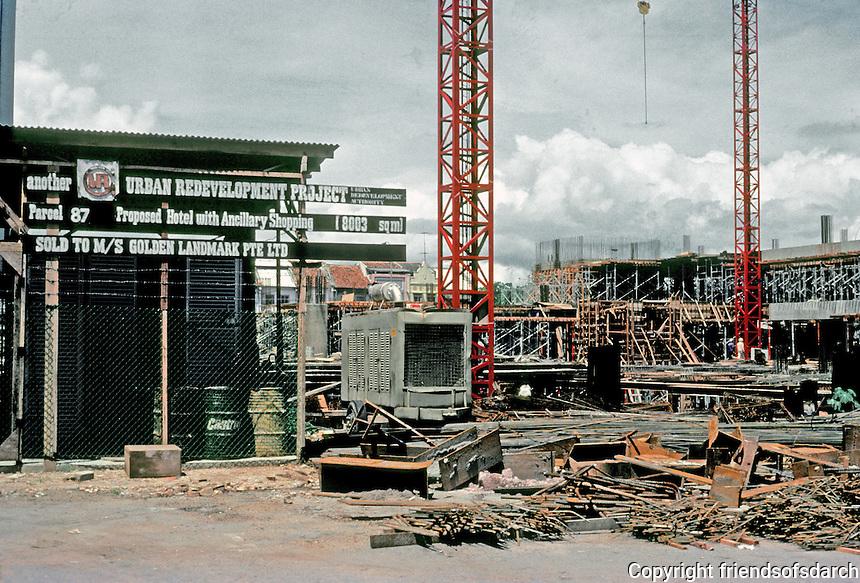 Singapore: Building site, next to Arab Street. Urban redevelopment everywhere. Photo '83.