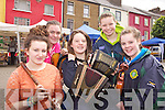 TUNES: Members of Lixnaw Comhaltas Group who will be entertaining those attending the Listowel Farmers' Market every Friday for the summer months, l-r: Ciara Shannon, Lorraine Nash, Aoife Enright, Saoirse Kennedy, Alannah Kissane.