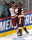 Jarid Lukosevicius (DU - 14), Carson Soucy (UMD - 21) - The University of Denver Pioneers defeated the University of Minnesota Duluth Bulldogs 3-2 to win the national championship on Saturday, April 8, 2017, at the United Center in Chicago, Illinois.