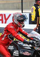 Jul. 19, 2013; Morrison, CO, USA: NHRA pro stock motorcycle rider Matt Smith during qualifying for the Mile High Nationals at Bandimere Speedway. Mandatory Credit: Mark J. Rebilas-