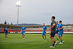 Spartak Trnava v St Johnstone...06.08.14  Europa League Qualifier 3rd Round<br /> Stevie May warms-up in the FC Vion Stadium with his team mates<br /> Picture by Graeme Hart.<br /> Copyright Perthshire Picture Agency<br /> Tel: 01738 623350  Mobile: 07990 594431