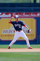 Reading Fightin Phils second baseman Brandon Bednar (19) throws to first base during the first game of a doubleheader against the Portland Sea Dogs on May 15, 2018 at FirstEnergy Stadium in Reading, Pennsylvania.  Portland defeated Reading 8-4.  (Mike Janes/Four Seam Images)