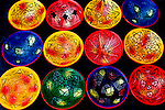 Hand painted bowls for sale in Otavalo, Ecuador's most famous Saturday market.